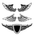 set of vintage emblems with wings isolated on vector image