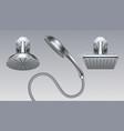shower metal heads realistic bathroom sprinkler vector image vector image