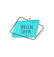 special offer grunge badge - turquoise scratch vector image
