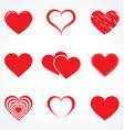 stylised valentine love heart collection vector image vector image