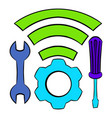 tools and wifi icon cartoon vector image vector image