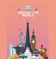 travel poster around the world vacation trip to vector image vector image