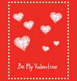 valentine card with hand drawn hearts and text vector image