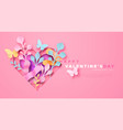 valentines day pink paper cut heart nature card vector image vector image