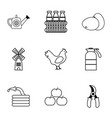 village farm icons set outline style vector image vector image