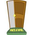 welcome carpet and a door open vector image