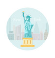 welcome to new york poster with statue of liberty vector image vector image