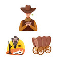 wild and west symbol set vector image vector image