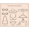 Line drawing set women accessories vector image
