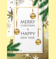 banner with christmas tree branches gold vector image vector image
