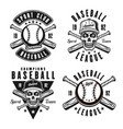 baseball four emblems or t shirt prints vector image vector image