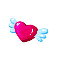 bright glossy pink heart with wings cartoon vector image