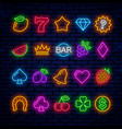 bright neon icons for casino slot machine vector image vector image