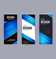 bright roll-up banner with blue lines on dark vector image vector image