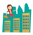 Business woman walking on the roofs of buildings vector image vector image