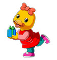 cartoon cute duck holding gift vector image