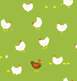 Chicken farm pattern with hens chickens and cock vector image vector image