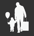child with father and travel bag vector image vector image
