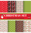 Christmas Retro Set - 8 seamless patterns vector image vector image