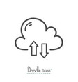 cloud download doodle vector image