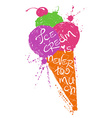 Colorful silhouette of ice cream cone vector image