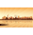 Delhi city skyline silhouette background vector image vector image
