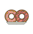 donuts with chocolate glaze on dish in colored vector image vector image