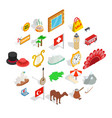 europe countries icons set isometric style vector image vector image