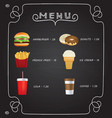 fast food menu on chalkboard vector image vector image