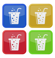 four square color icons fast food drink and straw vector image vector image