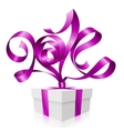gift box and purple ribbon in the shape of 2014 vector image