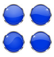 glass blue buttons round 3d buttons with chrome vector image vector image