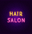 hair salon neon text vector image