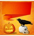 Halloween cute banner with black raven on the vector image vector image