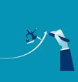 hand drawn arrow helps businesswoman executives vector image vector image