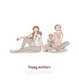 happy mothers with children at yoga class son vector image vector image
