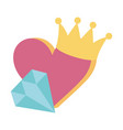 heart diamond crown icon on white background vector image