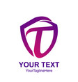 initial letter t logo template colorful shield vector image vector image