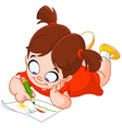 Little girl drawing vector image vector image