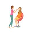 makeup procedure in beauty salon cartoon banner