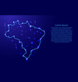 map brazil from the contours network blue vector image vector image
