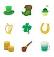 March 17 Saint Patrick day icons set vector image vector image
