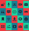media icons set with feed microphone message and vector image vector image