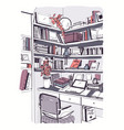 modern interior home library bookshelves vector image vector image