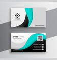 modern wavy turquoise business card design vector image vector image