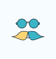 moustache hipster movember glasses men flat icon vector image