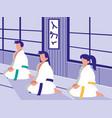 people in martials arts dojo scene vector image