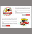 pizza restaurant internet web promo pages set vector image vector image