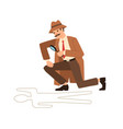 private detective look through magnifying glass at vector image