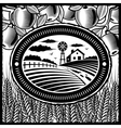 Retro farm black and white vector image vector image